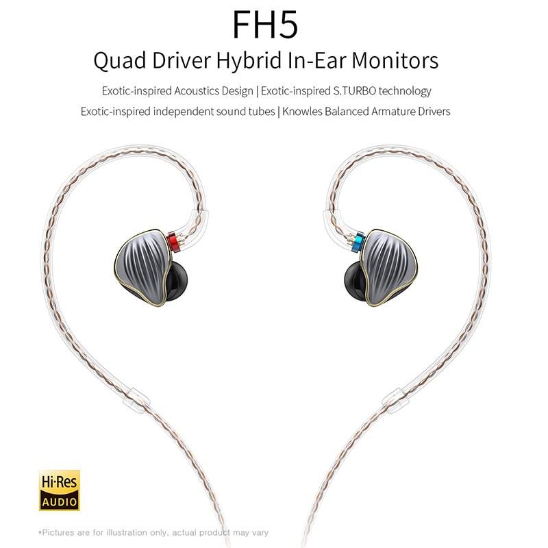 FiiO FH5 Quad Driver Hybrid HIFI In-Ear Monitor Auricolare con Knowles Driver Balanced Armature Staccabile Cavo MMCX