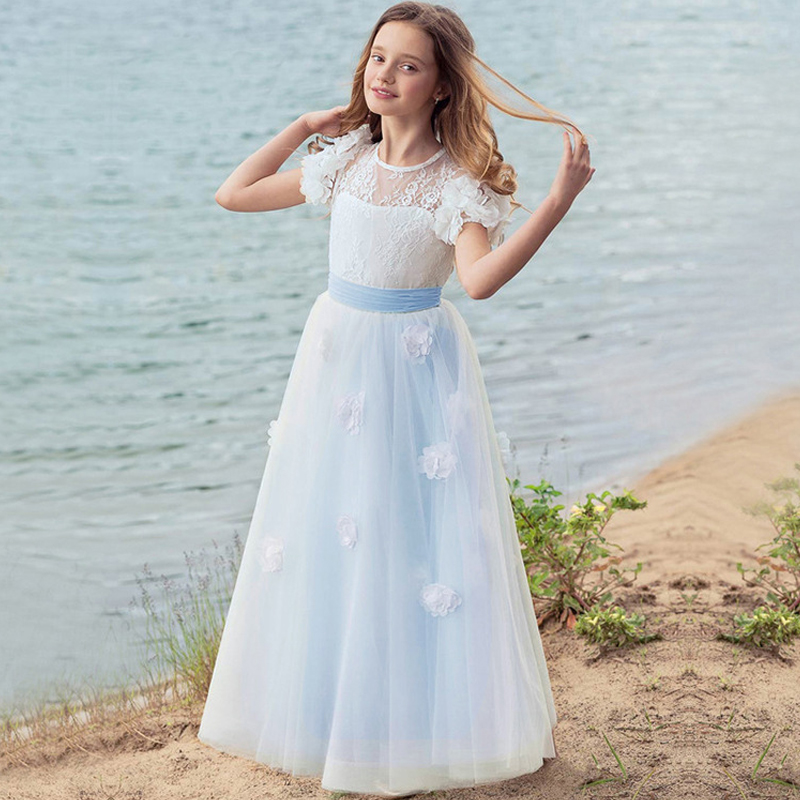 Long Flower Girls Dresses For Wedding Gowns Sleeveless Mother Daughter Dresses Lace First Communion Dresses for Girls Party