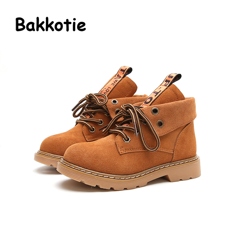 Bakkotie Autumn Fashion British Style Baby Girl Martin Boots Genuine Leather Child Boy AnkleBoots Kid Brand Toddler Shoes Camel bakkotie 2017 new autumn baby boy white shoes cat kid girl brand leisure sneaker gneuine leather breathable child soft trainer