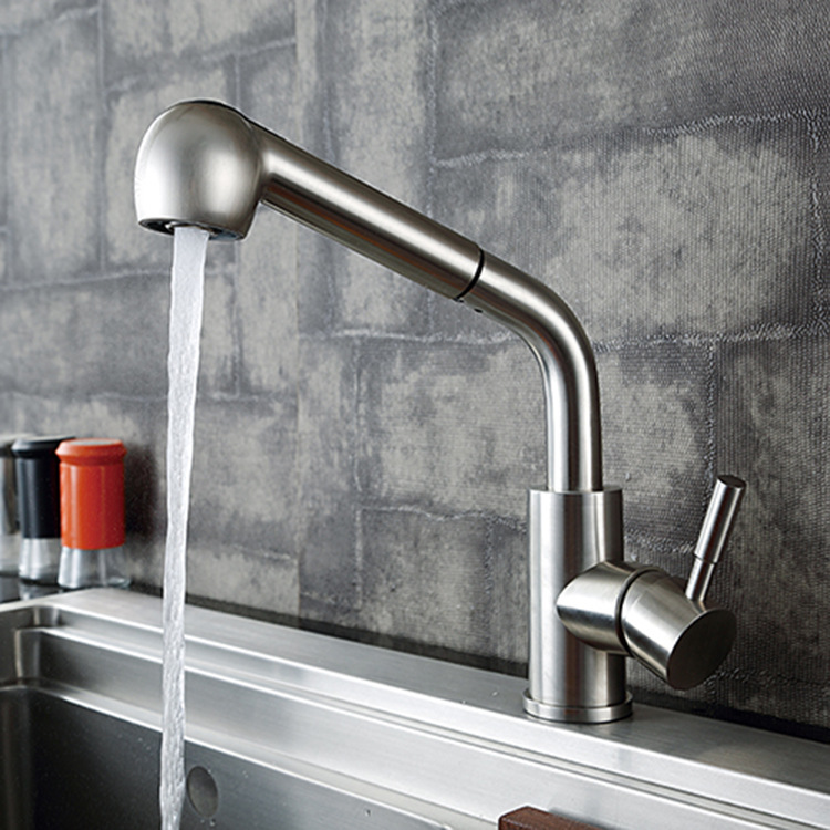Health 304 stainless steel kitchen mixer tap with pull out lead free hot cold water faucet from DONA stainless steel manual push self turning stirrer egg beater whisk mixer kitchen wholesale price