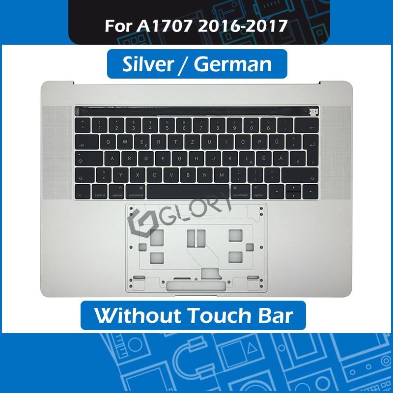 Silver Laptop Palm Rest for Macbook Pro Retina 15 Touch Bar A1707 Top Case with German Keyboard Late 2016 Mid 2017Silver Laptop Palm Rest for Macbook Pro Retina 15 Touch Bar A1707 Top Case with German Keyboard Late 2016 Mid 2017