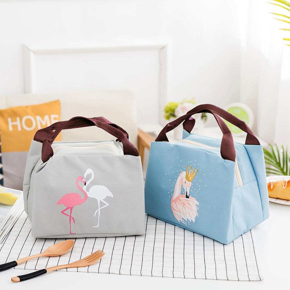 Hot Lovely Flamingo Portable Outdoor Picnic Camp Work Lunch Bag Food Storage Pouch tote bags for work