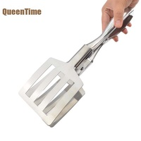 QueenTime Large Food Tongs Stainless Steel Meat Clip BBQ Buffet Ice Salad Tongs Cooking Utensils Kitchen