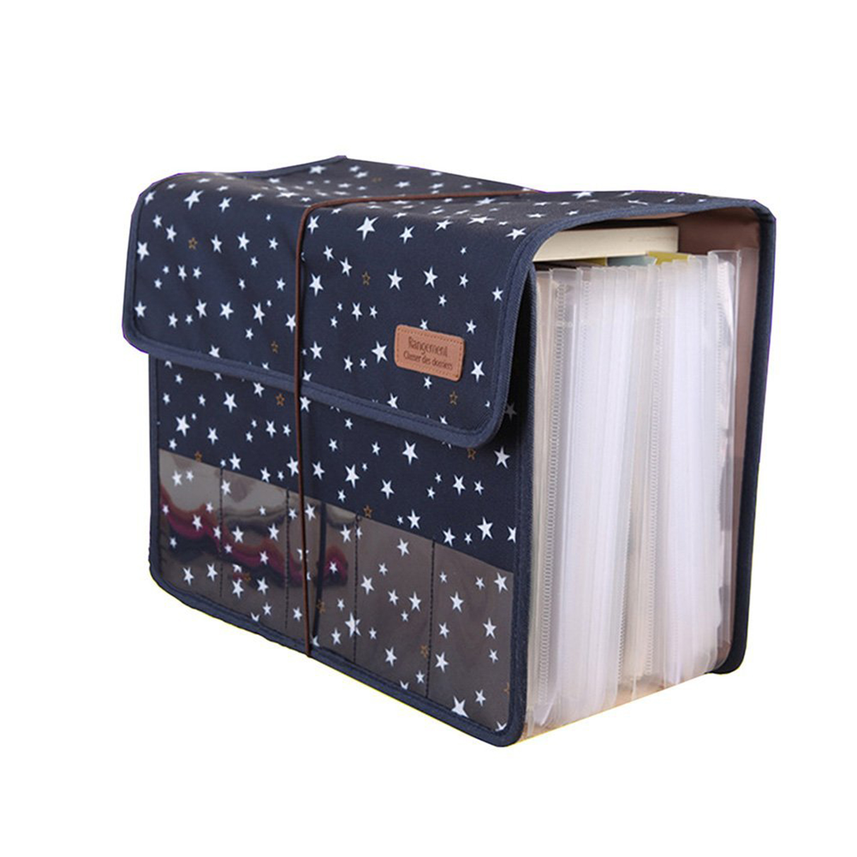 BLEL Hot Cute Portable Expandable Accordion 12 Pockets A4 File Folder Oxford Expanding Document Briefcase