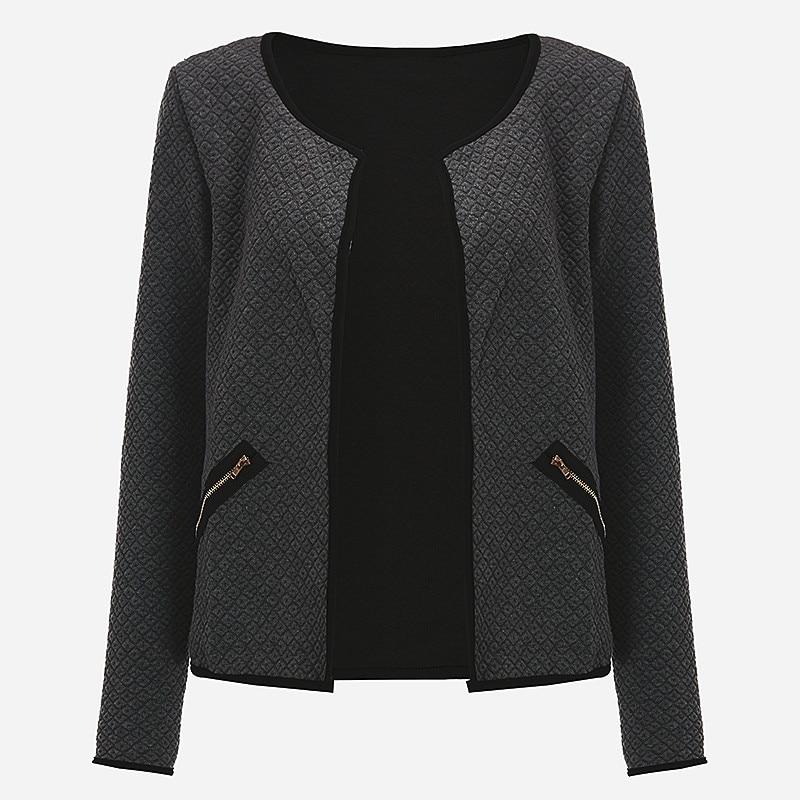 Plus Rozmiar Wiosna Jesień Kratę Kobiet Cienkie Płaszcze Krótkie Kurtki Schudnięcia Blazers Garnitur Cardigans 2017 Kobiet Znosić Czarny Biały 11