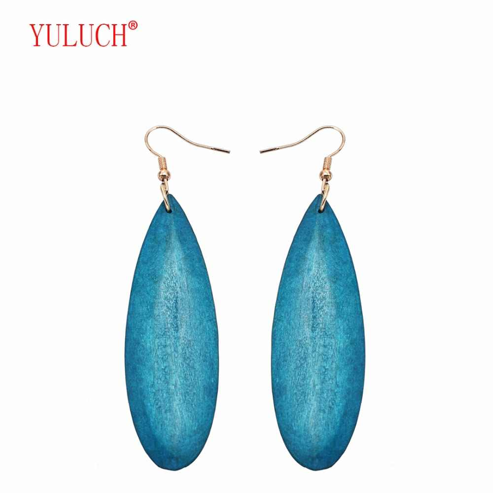 YULUCH 2018 NEW 4 colors irregular teardrop type African wood exaggerated personality fashion earring jewelry gift