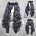 Free Shipping 80cm Long Wave Kuroshitsuji Ciel Wig Phantomhive Blue&Gray Synthetic anime cosplay wigs+2Ponytails