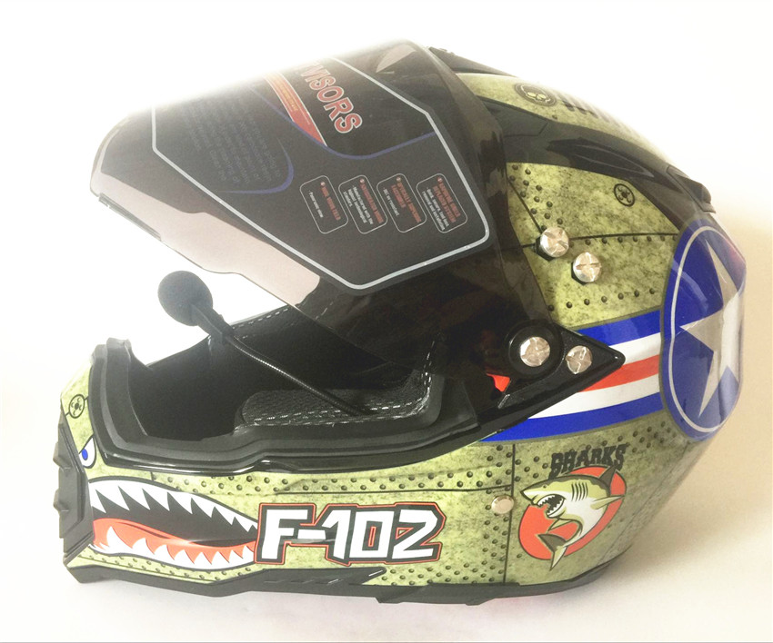 Motorcycle Bluetooth Helmets Full Face Helmet,Built in Integrated Intercom Communication System FM radio,L size,Matte Black