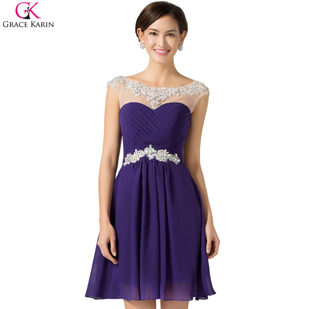 Cheap Short Semi-Formal Purple Dresses