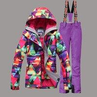GSOU SNOW Women Ski Suit Windproof Waterproof Super War Skiing Jacket+Pant Outdoor Sport Wear Super Warm Female Coat Trouser Set
