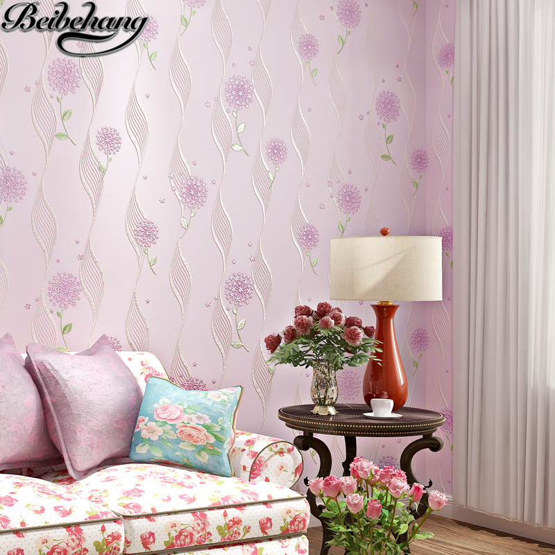 beibehang Warm pastoral flowers background bedroom living room clothing store beauty salon pink purple non - woven wallpaper beibehang warm pink girl room wallpaper children s room non woven three dimensional love childrens clothing shop wallpaper
