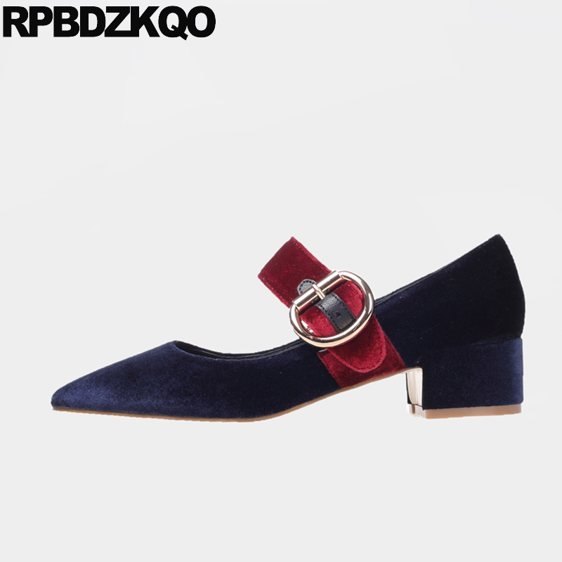Detail Feedback Questions about Mary Jane Strap Blue New Size 33 Suede 4 34 Shoes  Fashion Women Autumn Pointed Toe Navy Pumps Chic Thick Female Elegant ... d3d8a21d63a6