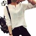 3D Bordado Blusa Mulheres de Manga Longa Plus Size Casuais Patchwork solto Tops E Blosues 2016 Nova Moda Camisa Xadrez HOT