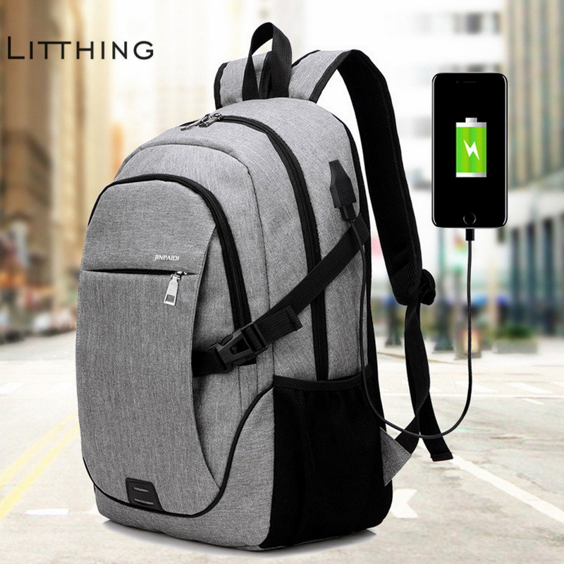 Litthing Male 15.6 Inch Laptop Backpack Bag Brand Notebook Mochila For Men Waterproof Back Pack Bag School Backpack 32*18*48cm