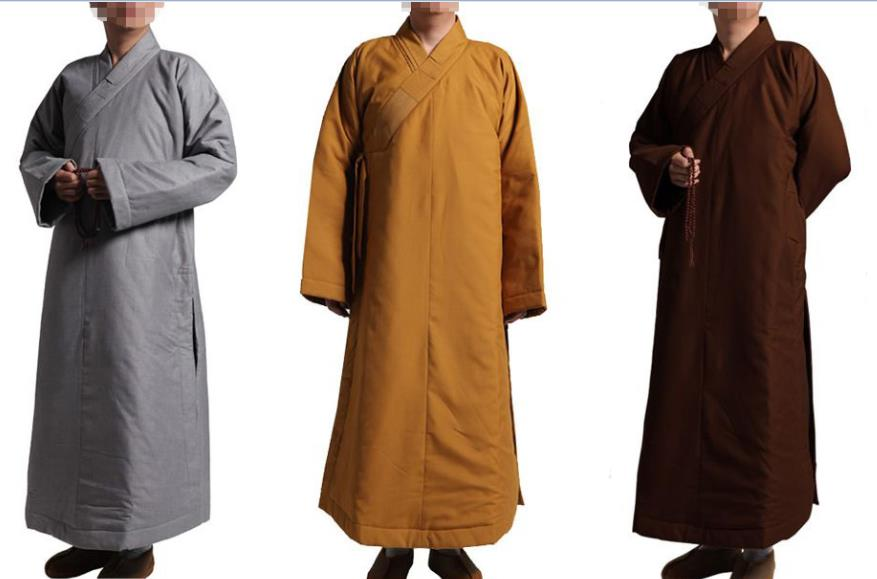 d0de0c4984 Unisex 3colors Winter warm cotton robe buddhist monks gown meditation  clothingmartial arts lay uniform clothesyellow brown gray