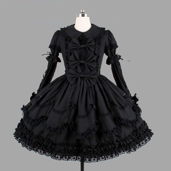 Lolita Gothic Dark Goddess Lace Dress Pure Black Lace Pompon Cake Short Skirt
