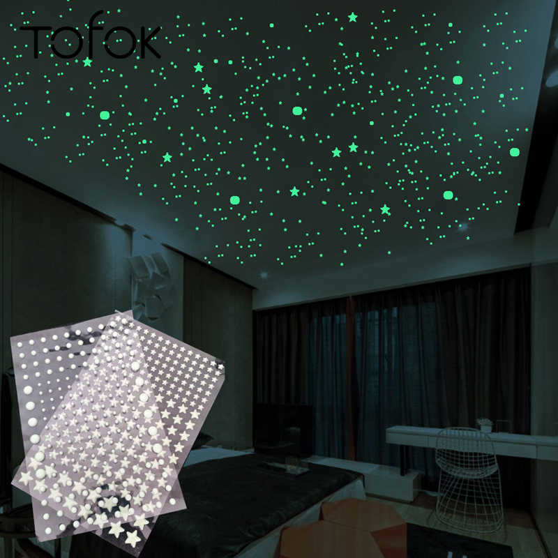 Tofok 3D Bubble 202pcs/set Stars Dots Luminous Wall Sticker DIY Bedroom Kids Room Decal Glow in Dark Fluorescent Home Decoration