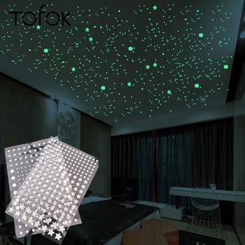 Tofok 3D Bubble 202 sztuk zestaw Stars kropki świecąca naklejka na ścianę naklejki DIY sypialnia naklejka do dziecięcego pokoju blask w ciemności fluorescencyjne do dekoracji domu tanie i dobre opinie CN (pochodzenie) Naklejka ścienna samolot Nowoczesne Na ścianie Meble Naklejki Jednoczęściowy pakiet WALL BZ8305 PATTERN