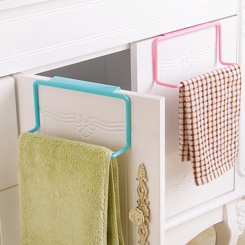 Plastic Towel Rack Hanging Holder Kitchen Cupboard Sponge Wash Cloth Organizer Wardrobe Cabinet Storage Rack Bathroom Shelve S35