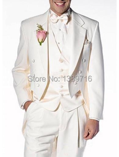 Revers Custom D'honneur De Costumes Gilet Smokings Meilleur Marié Cran Hommes Cravate Epoux Mariage Tailcoat Homme Pantalon Ivoire 2016 Made Garçons veste wWd1nqw70