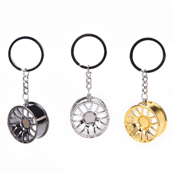 2018 New Design Cool Luxury metal Keychain Car Chain Ring creative wheel hub For Man Women Gift image