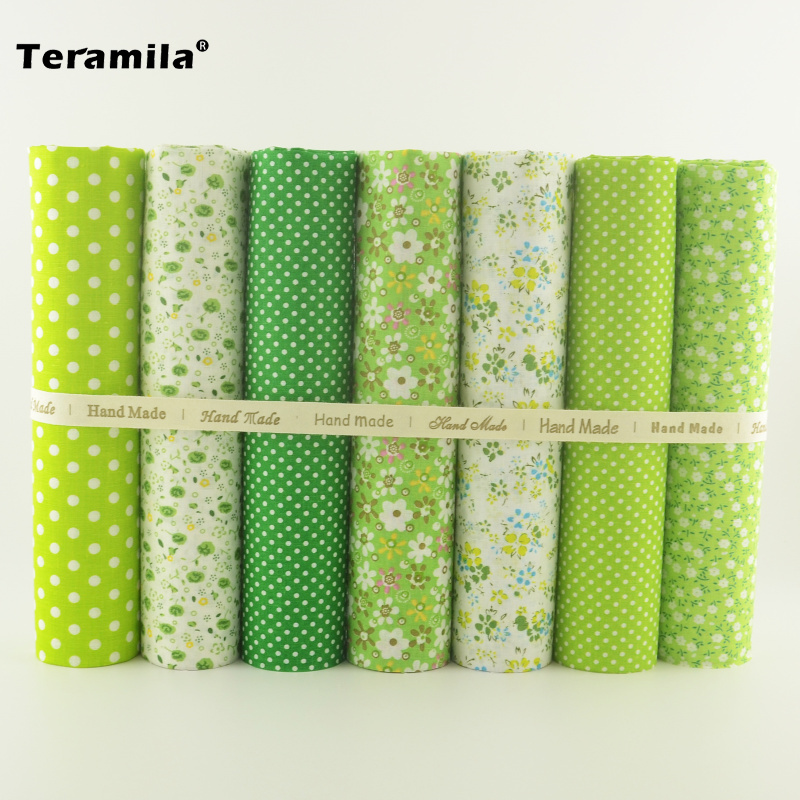 New Flowers and Dots Designs 7PCS/lot 100% Cotton Fabric Patchwork Tissue Green Color Home Decoration Scrapbooking Art Work craft