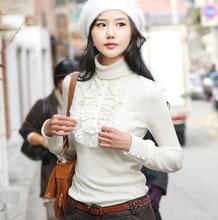 New women Fashion Knit Pullovers Elegant Spliced Ruffles Casual Turtleneck Plus Size Sweater S-XXXL 4XL