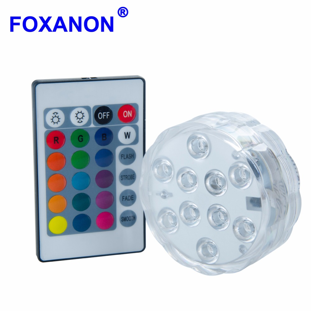 Led Underwater Lights Able Foxanon Underwater Submersible Led Light 5050 Smd Rgb Remote Atmosphere Lighting Ip68 Wedding Xmas Swimming Pool Piscina Pond Comfortable Feel Lights & Lighting