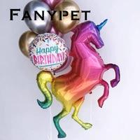 10/50pcs Large Laser Unicorn Balloons Material Rainbow Horse Foil Balloon Baby Birthday Party Wedding Decor Balloon Toys globos
