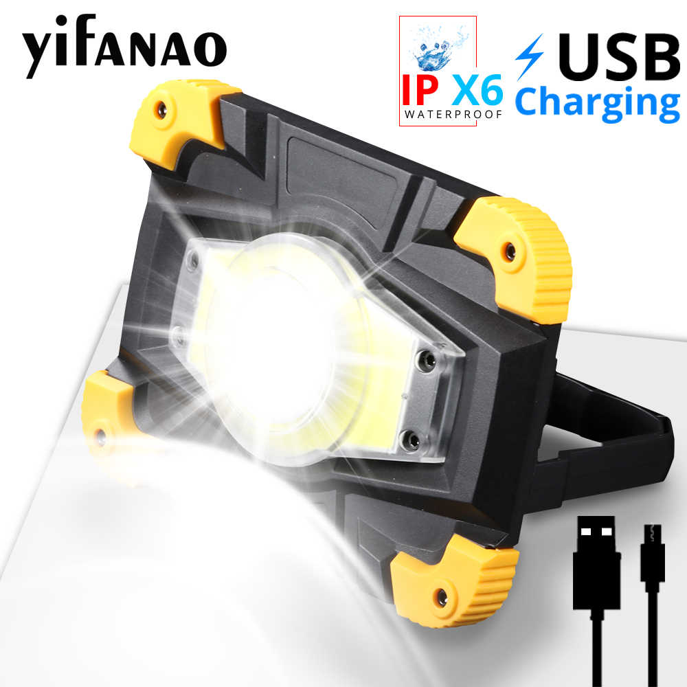 100W Lampe LED COB Portable Spotlight Camping Lamp Lantern USB Charging Work Light 18650 Floodlight Power Bank Searchlight