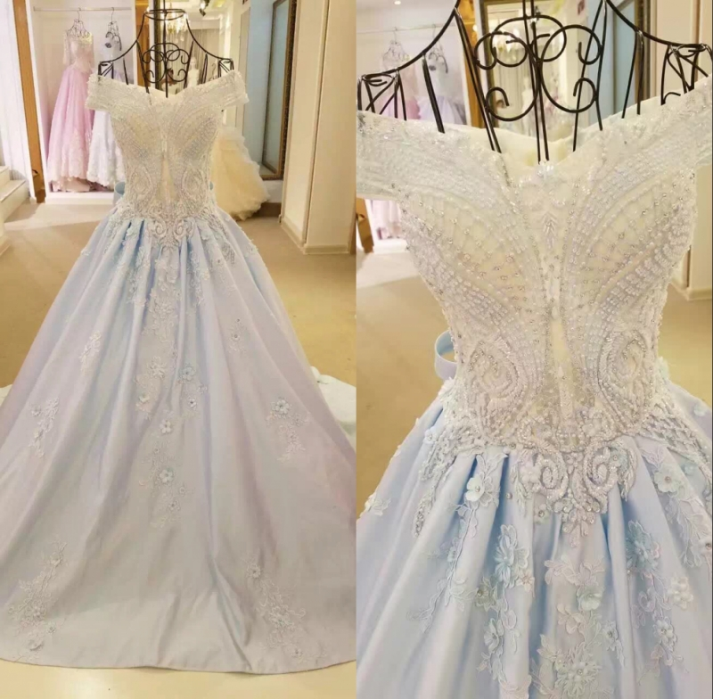 High Quality Appliqued Lace Beaded Wedding Gowns 2017 Off