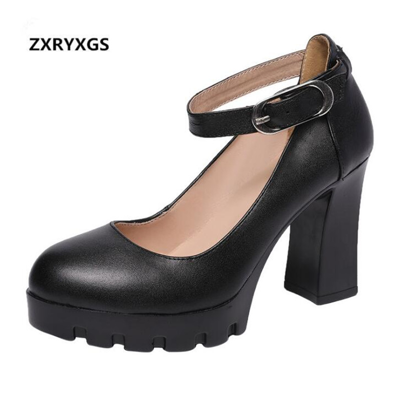 ZXRYXGS Brand Shoes Woman Elegant Fashion High Heels 2019 New Genuine Leather Shoes Women Shoes Rough