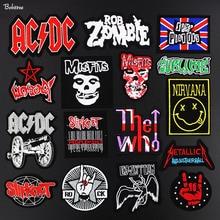 Metal Band Kain Patch Penggemar Musik Rock Lencana Bordir Motif Bordiran  Stiker Besi untuk Jaket Jeans 888feaa92b