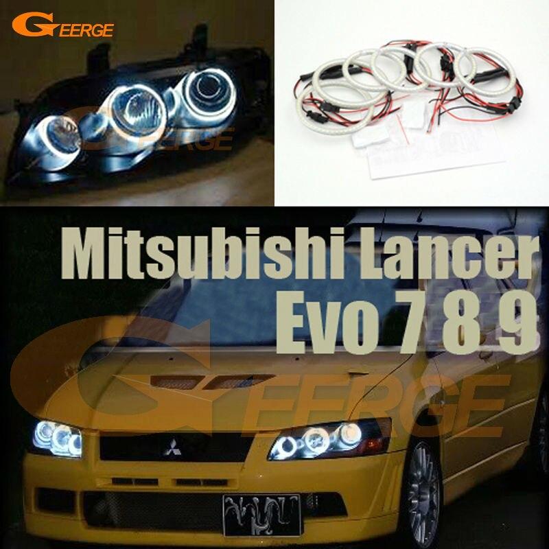 For Mitsubishi Lancer Evo 7 8 9 2002-2007 Excellent 6 pcs smd led Angel Eyes Super bright 3528 SMD led Angel Eyes kit Halo Ring неоновые кольца angel eyes newsun 80 3014 smd 12v halo 60 72 90 120