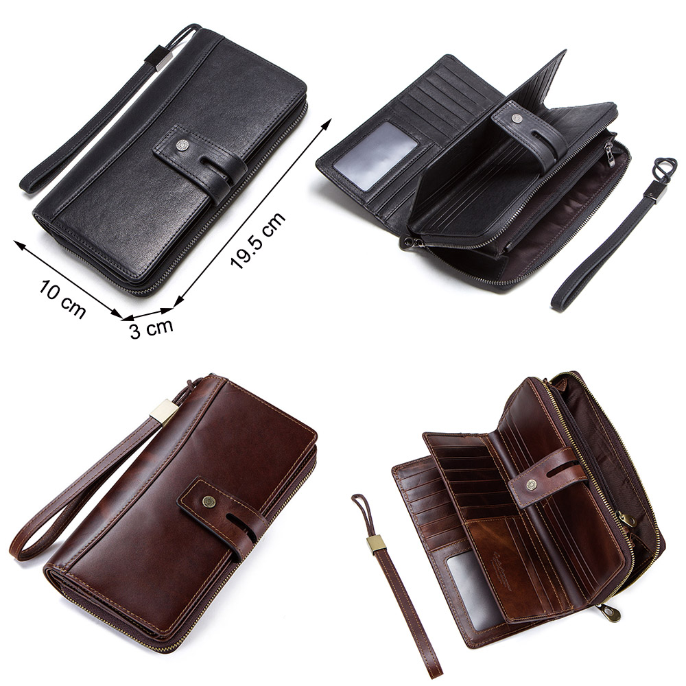 CONTACT'S genuine leather men long wallet with card holders male clutch zipper coin purse for cell phone business luxury wallets 3
