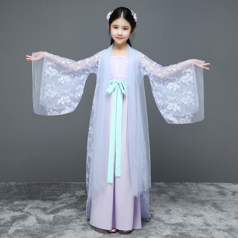 New Arrival children chinese traditional Floral Voile hanfu elegant girl ancient chinese dresses costume Femal tang folk clothes 2017 new arrival china traditional red