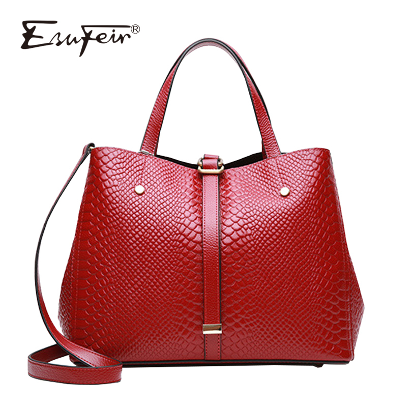 Esufeir 여성 핸드백 정품 가죽 뱀 숄더 가방 유명 브랜드 디자인 여성 가방 패션 크로스 바디 가방 여성을위한-에서숄더 백부터 수화물 & 가방 의  그룹 1