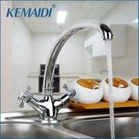 Kemaidi ru polido latão cromado torneira da cozinha dupla alça misturador de água quente e fria deck montado