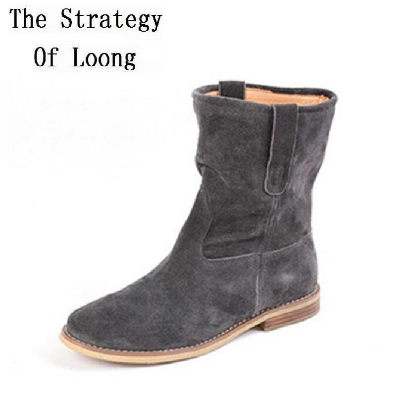 النساء جلد طبيعي أزياء حذاء من الجلد قصيرة أفخم سميكة تحذر الثلوج جلد حقيقي لا أفخم الربيع الخريف الأحذية 6-في أحذية الكاحل من أحذية على  مجموعة 1