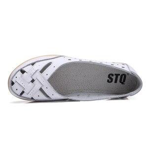 Image 4 - STQ 2020 ฤดูร้อนผู้หญิงแฟลตบัลเล่ต์หนังแท้รองเท้า Loafers SLIP บนรองเท้าส้นแบนผู้หญิง Loafers Ballerina 1165
