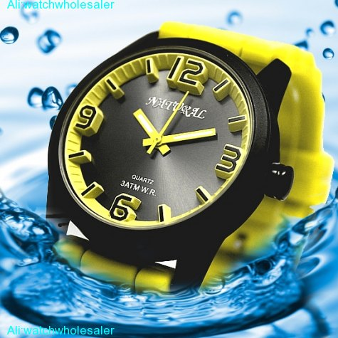 FW848C Water Resist Silicone Yellow Band Boy Girl 100% Tested 3ATM Fashion Watch