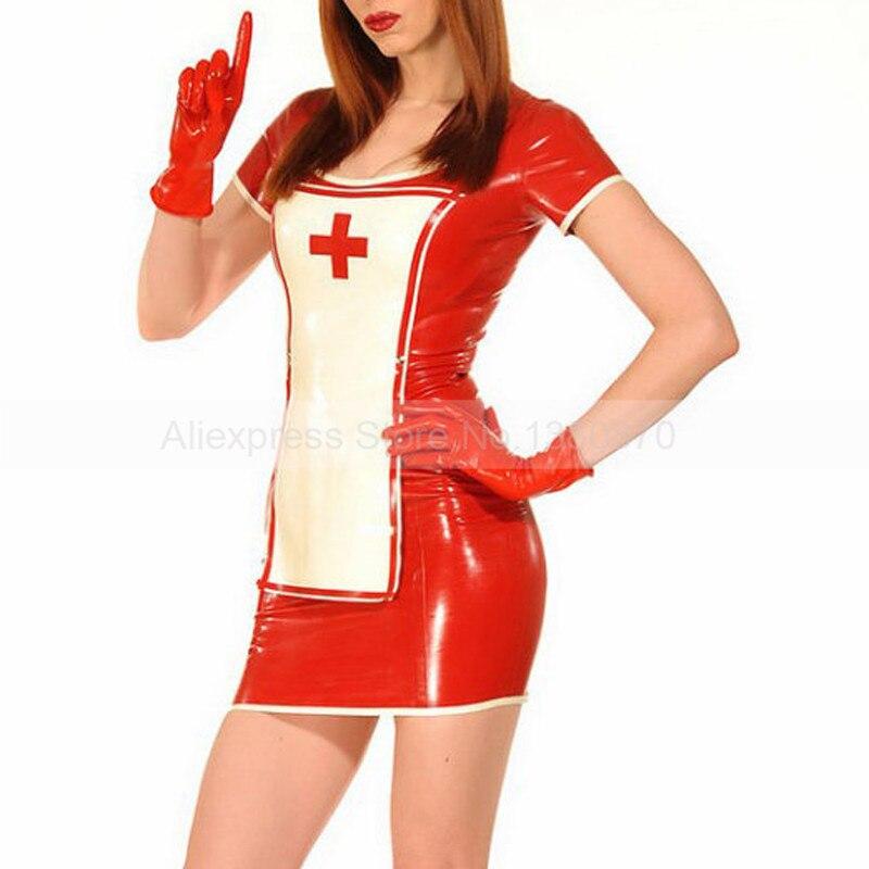 Femme Sexy en caoutchouc Latex robe infirmière uniforme avant blanc partie amovible S-LU027