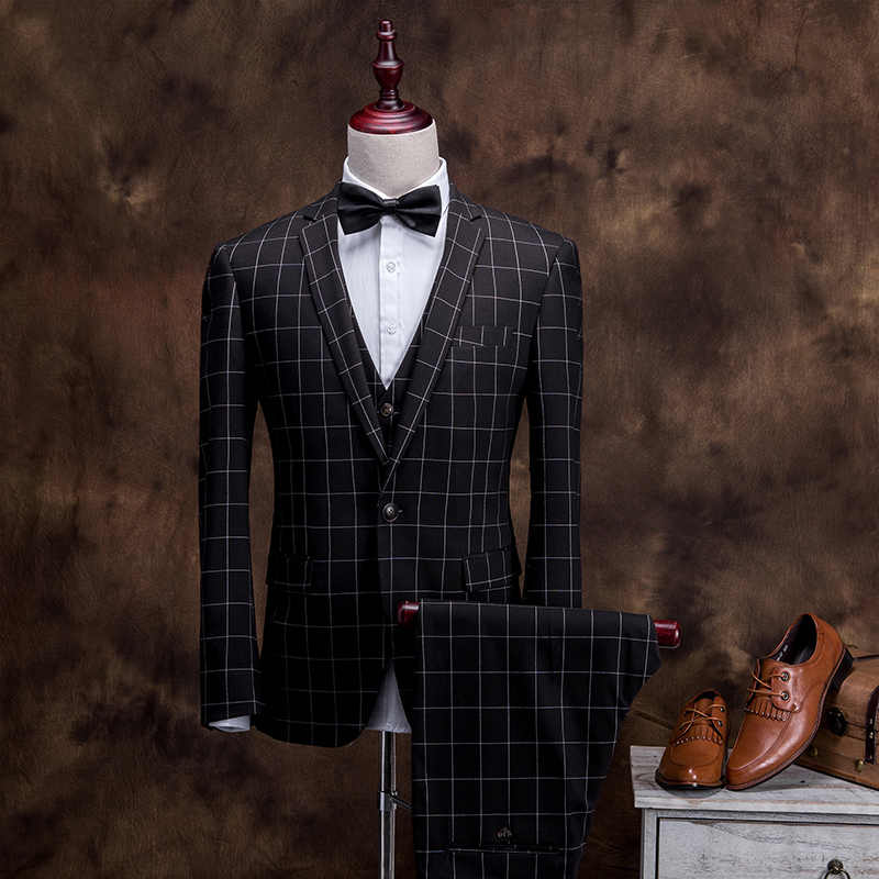 MarKyi 2017 new plaid men suits blazer with pants good quality long sleeve men suits for wedding single button male suits
