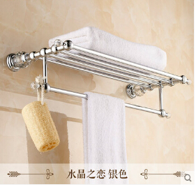 Crystal Wall Mounted Towel Holder Brass Material Bathroom Accessories Towel  Racks Chrome Towel Shelf