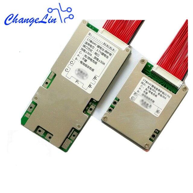 17S 64 فولت 16S 60 فولت 13S 48 فولت 7S 24 فولت بطارية ليثيوم لوح حماية ليثيوم أيون يبو 18650 حزم BMS PCM مشترك نفس المنفذ 30A 50A eBike