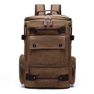 Image 2 - Sac à dos vintage en toile pour homme, grande contenance et haute qualité, idéal pour voyager, servir de cartable ou contenir un ordinateur portable