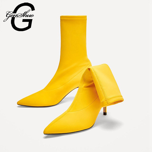 GENSHUO 2018 Women Sock Boots Pointed Toe Elastic High Boots Slip On High Heel Ankle Boots Women Pumps Stiletto Botas Black Red