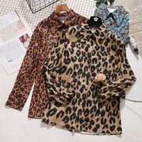 2018 primavera new female Leopard blusas turn-down das mulheres de manga comprida camisa camisas da forma das mulheres do vintage
