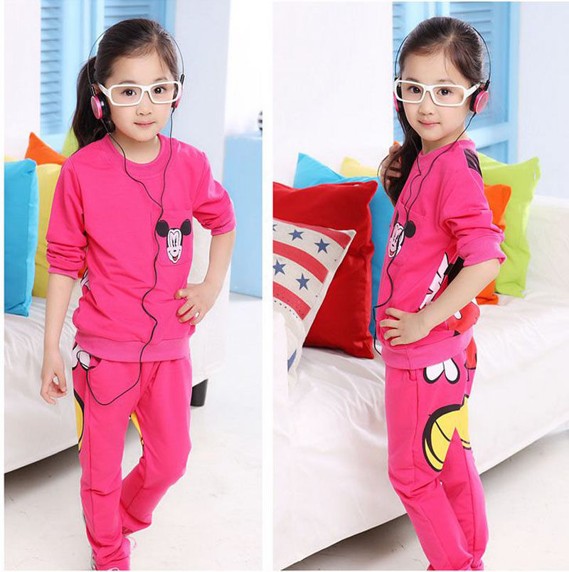 kid girls clothes 2017 spring children long sleeve cartoon print shirt+pants clothing set red pink gray minnie outfits DY144C