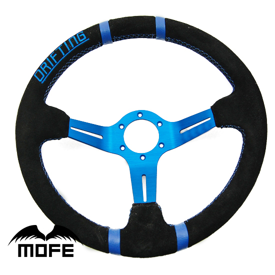 SPECIAL OFFER Original Logo 5PCS Suede Leather Red Stitch 14 inch 350MM 90mm Deep Dish Drifting Steering Wheel